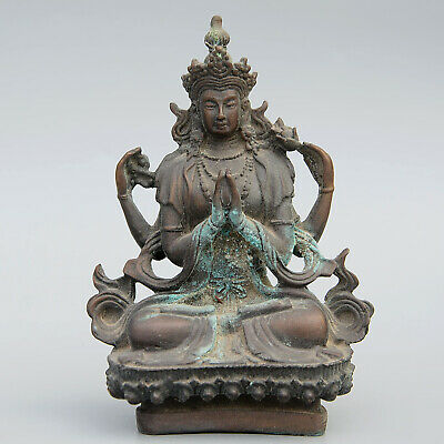 Collectable China Old Bronze Handwork Carve Kwan-yin Auspicious Unique Statue