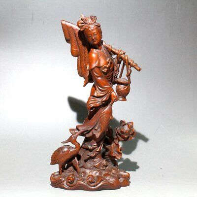 Collectable Chinese Boxwood Hand-Carved Ancient Fairy & Crane Lotus Rare Statue