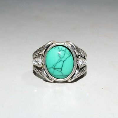Collectable China Miao Silver Turquoise Handwork Carve Delicate Auspicious Ring