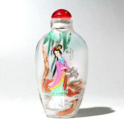 Collectable China Glass Interior Painting Ancient Beauty Delicate Snuff Bottles