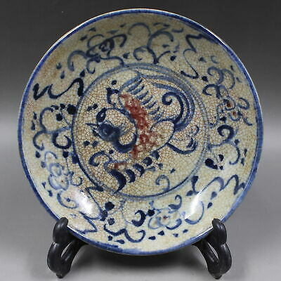 Collectable China Blue And White Glaze Porcelain Hand Painting Red Phoenix Plate