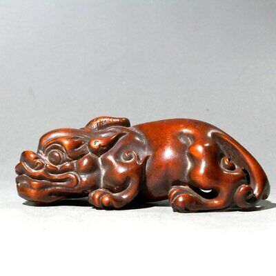 Collectable China Old Boxwood Hand-Carved Myth Animal Auspicious Delicate Statue