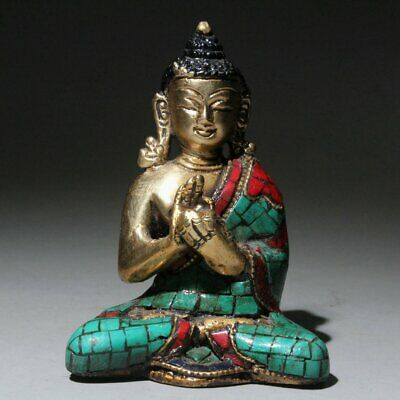 Collect Old Bronze Inlay Cloisonne Hand-Carved Buddha Bring Auspicious Statue