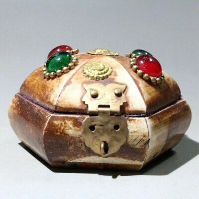 Collectable China Ancient Wood Brass Armour Agate Delicate Beautiful Jewelry Box