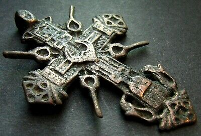 ANCIENT BRONZE BIG CROSS RARE. RELIGIOUS ARTIFACT 17 - 18 CENTURY 56 mm. (S.052)