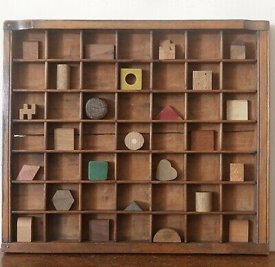 Decorative Artwork of Treen Themed Items in Antique Printers Tray Cabinet
