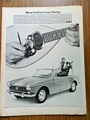 1965 Fiat Sport Convertible Ad New Italian Love Song Couple Playing Mandolin