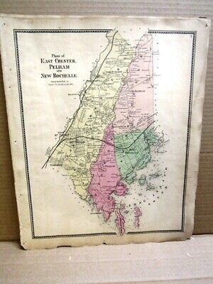 1867 Village Map New Rochelle,Eastchester, Pelham,Westchester Co Ny Beers Atlas
