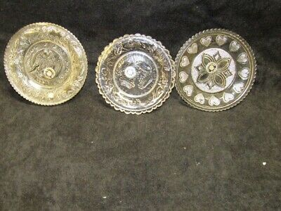 3 Vintage Clear Glass Sandwich Patterned Westmorland Hand Made Butter Pats