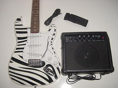 New Full Size 6 String Strat Style Zebra Electric Guitar with 20W Practice Amp