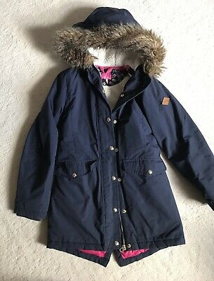 Joules Girls Lined Waterproof Jacket / Coat Fur Trim Hood Age 11-12 Years