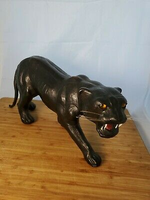 """Genuine Leather Wrapped Black Panther -  Animal Statue 15"""" X 7"""" Decor Glass eyes"""