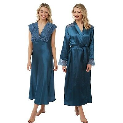 Ladies Blue Teal Long Satin Chemise Nightie Nightshirt Wrap Kimono Bathrobe