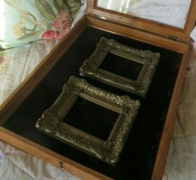 A Handsome Vtg.french Table Top Jewel Display Case / Collectors Cabinet ~