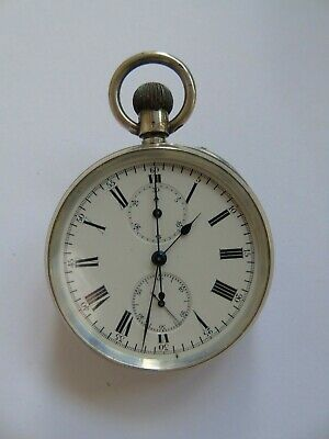 Solid Silver Chronograph Pocket Watch