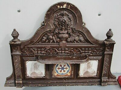 1880s CAST IRON OVERMANTLE with TILES of QUEEN VICTORIA inset into it