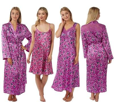 Ladies Pink Botanical Long Satin Chemise Nightie Nightshirt Wrap Kimono Bathrobe