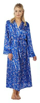 Ladies Blue Floral Full Length Satin Dressing Gown Wrap BathRobe Kimono PlusSize