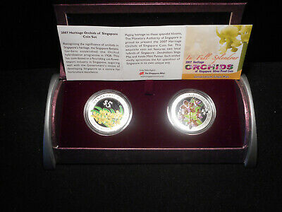 2008 Singapore Heritage Orchids 2-coin Silver proof set $5 Flower Flore.