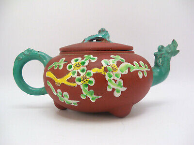 Chinese Yixing Clay Enamel Dragon Teapot