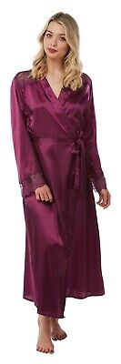 Ladies Plain Full Length Satin Dressing Gown Wrap Bath Robe Kimono Plus Size