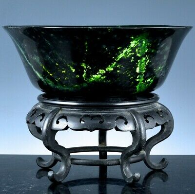 LARGE CHINESE CARVED SPINACH JADE MOSS AGATE STONE SERVING BOWL w FOOTED STAND