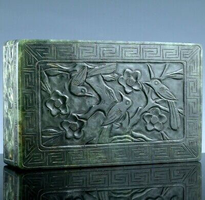 ANTIQUE c1900 CHINESE CARVED SPINACH JADE BIRD LANDSCAPE SEAL DESK BOX w STAND