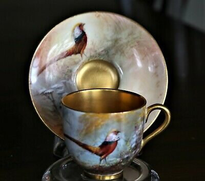Demitasse Royal Worcester Cup and Saucer Pheasant Signed Sedgley & Dated 1926