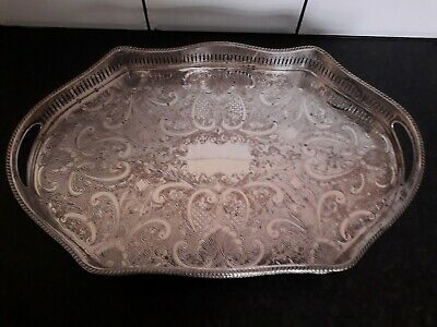 Antique/vintage Sheffield Plate On Copper Tray