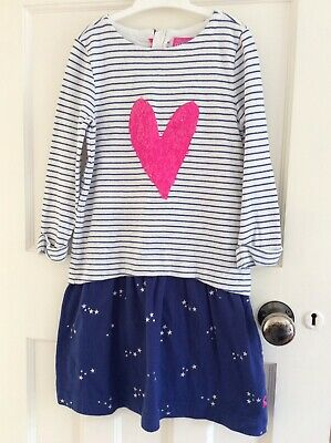 Girls Joules Long Sleeved Dress Age 7-8 Years