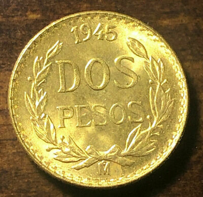 1945 Gold Mexican 2 Peso Coin Mexico Gold Dos Pesos Coin