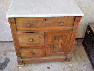 Antique Victorian 1870's - 1880' s Eastlake Marble Top Commode