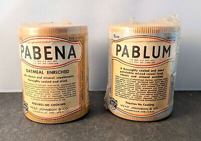Set of 2, Pablum Pabena Cooked Cereal Physician's Sample Advertising Miniature