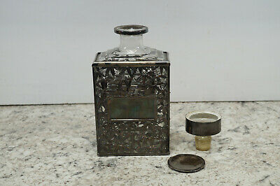 Antique Chinese Export Sterling .950 Silver Overlay Bamboo Bottle Decanter