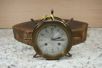 Vtg Schatz & Sohne Ships Bell Clock 8 Day 7 Jewels Brass - Germany Works Great!!