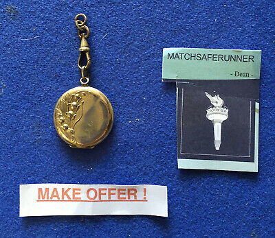 French Art Nouveau Rolled Gold Rose Gold Coloured Fob Locket With Photographs