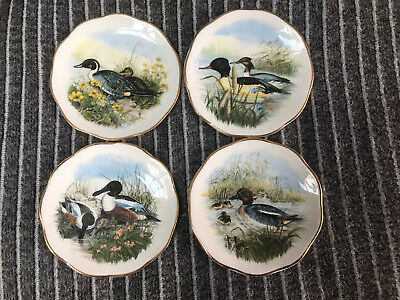 Vintage Fine Bone China Waterfowl Pin Dishes X4