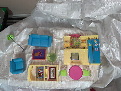 Barbie Furniture with Kitchen, Sofas, Lamp, Table, TV