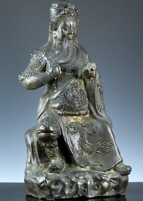 Great Large Antique Chinese Bronze Warrior God Buddha Immortal Figure