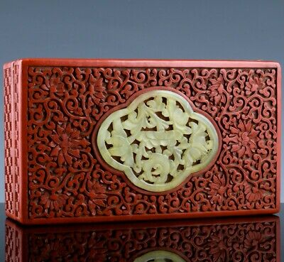 Finely Carved Antique Chinese Red Cinnabar Lacquer Jade Pendant Inlaid Desk Box