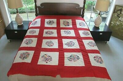 RUSTIC Vintage Hand Sewn Feed Sack Postage Stamp Size HEXAGON Applique Quilt TOP
