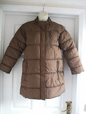 Z. Kids AGED 9 - 10 GIRLS PADDED LONG BROWN WINTER COAT CASUAL