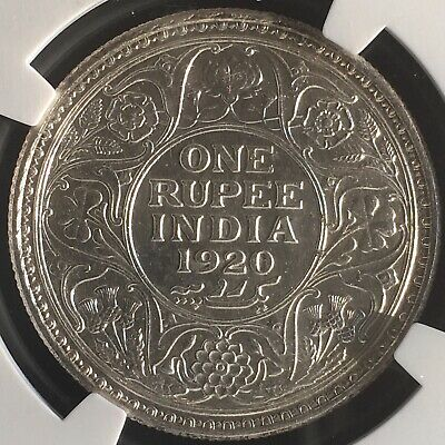 NGC Graded AU-58-1920 (C)Rupee King George British India Silver Coin