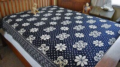 Antique 19th c Two Panel Blue & White Double Weave Coverlet