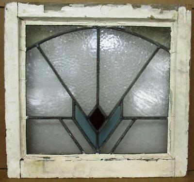 "OLD ENGLISH LEADED STAINED GLASS WINDOW pretty Fan Design 19"" x 17.75"""