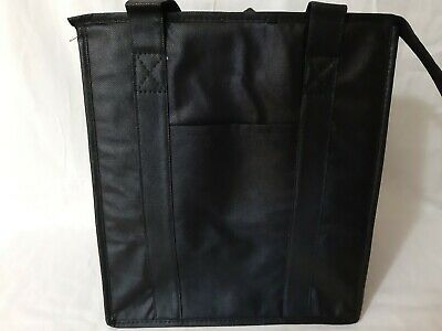 Medium Insulated Food Delivery Tote Bag w/ Drink Holder Black