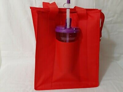 Medium Insulated Food Delivery Tote Bag w/ Drink Holder Red