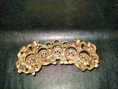Vintage Gold Ormolu Lipstick Holder 5 Holes Plus 3 Small Holes,Lily Flowers