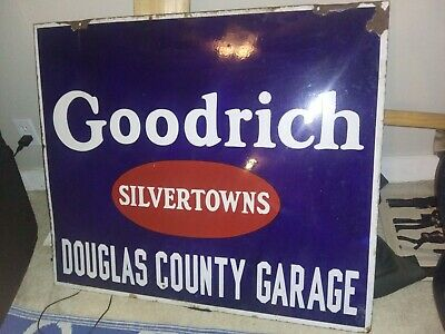 Goodrich silvertown double sided porcelain sign from the 1940/1950s