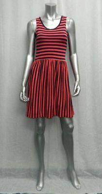 FRENCH CONNECTION CLASSIC Navy Blue/Coral Striped Sleeveless T-Shirt Dress sz 4